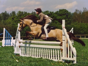 Diana on her first pony, Panache